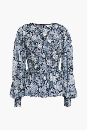 GANNI Shirred polka-dot chiffon peplum blouse