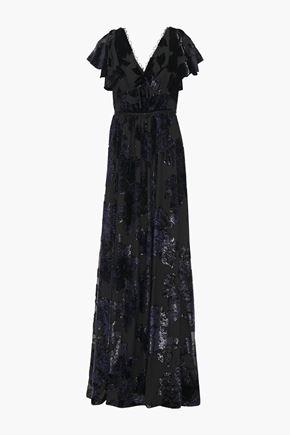 MARCHESA NOTTE Ruffled metallic devoré-velvet gown