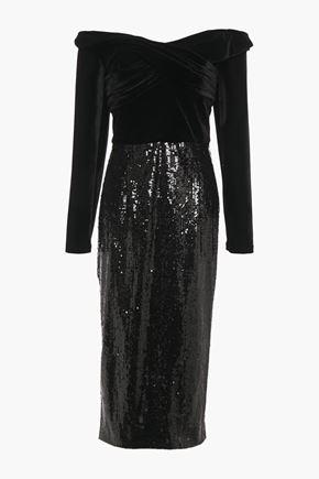 MARCHESA NOTTE Off-the-shoulder ruched velvet-paneled sequined tulle midi dress