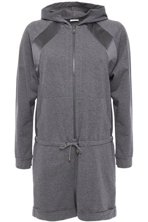 BRUNELLO CUCINELLI Satin-trimmed bead-embellished French cotton-blend terry playsuit