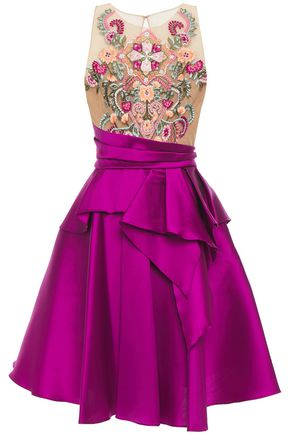 MARCHESA NOTTE Flared embellished tulle and duchesse-satin dress