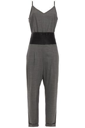 BRUNELLO CUCINELLI Belted pleated satin-trimmed bead-embellished silk-blend jumpsuit