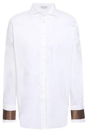 BRUNELLO CUCINELLI Bead-embellished silk-trimmed stretch-cotton poplin shirt