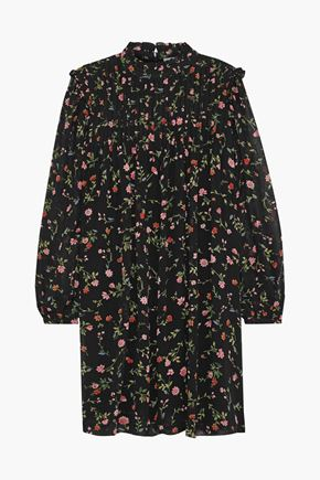 GANNI Elm pintucked floral-print georgette mini dress