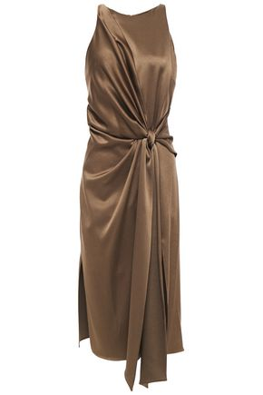 HALSTON Knotted draped satin-crepe dress