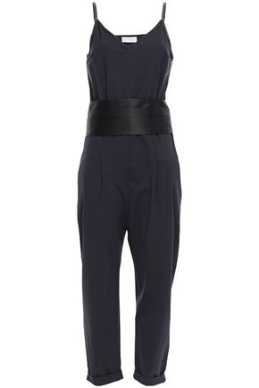 BRUNELLO CUCINELLI Belted pleated satin-trimmed bead-embellished silk-blend jumpsuit