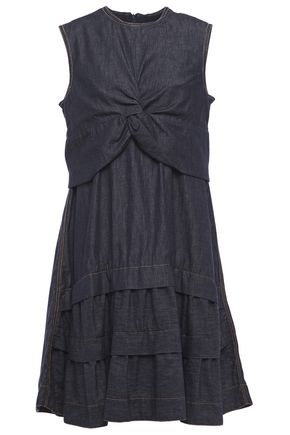 BRUNELLO CUCINELLI Tiered layered twist-front bead-embellished denim dress