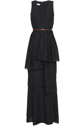BRUNELLO CUCINELLI Layered belted pleated mousseline maxi dress