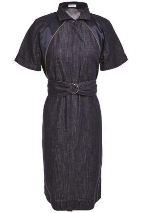 BRUNELLO CUCINELLI Belted silk satin-trimmed bead-embellished denim dress