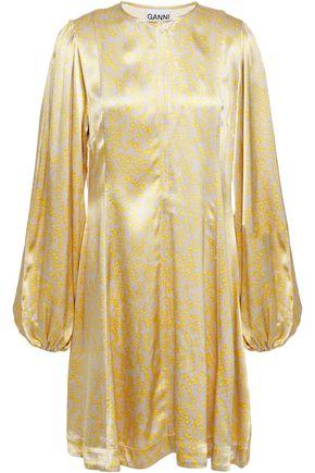 GANNI فستان قصير من الساتان المطبع بالورود