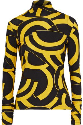 DE LA VALI Tallulah printed stretch-jersey turtleneck top