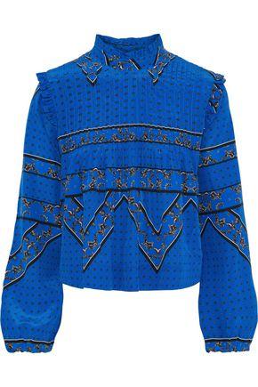 GANNI Cloverdale pintucked printed silk crepe de chine blouse