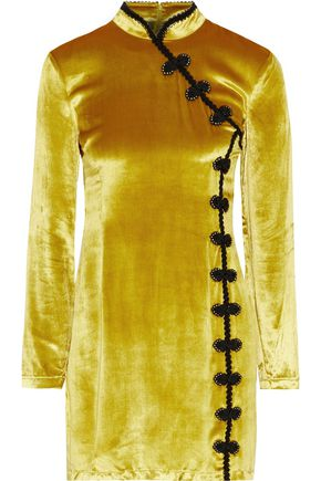 DE LA VALI Ginger appliquéd velvet mini dress