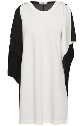 JW ANDERSON Draped two-tone chiffon and ponte tunic