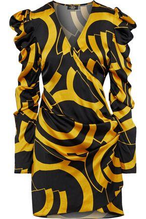 DE LA VALI Gin wrap-effect printed satin mini dress