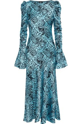 DE LA VALI Clementine tiger-print stretch-silk satin maxi dress
