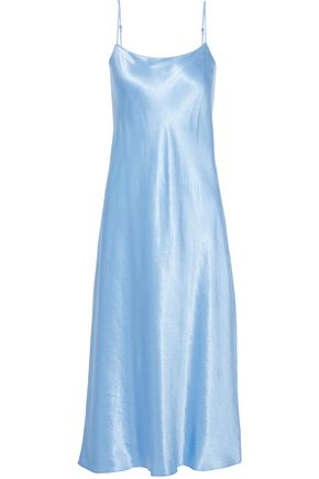 VINCE. Crinkled-satin midi slip dress