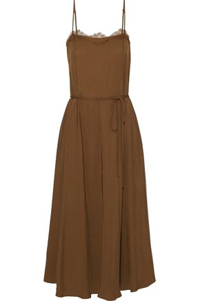 VINCE. Belted lace-trimmed satin-twill midi slip dress
