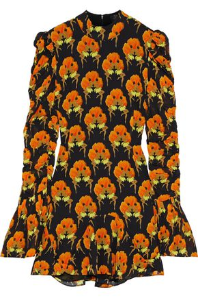 DE LA VALI Puma ruched printed georgette mini dress