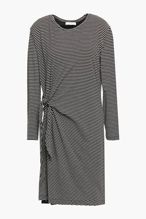 VINCE. Knotted striped cotton-jersey dress