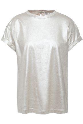 BRUNELLO CUCINELLI ビーズ付き メタリックコットンジャージー Tシャツ