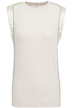BRUNELLO CUCINELLI Bead-embellished satin-trimmed ribbed stretch-cotton jersey top