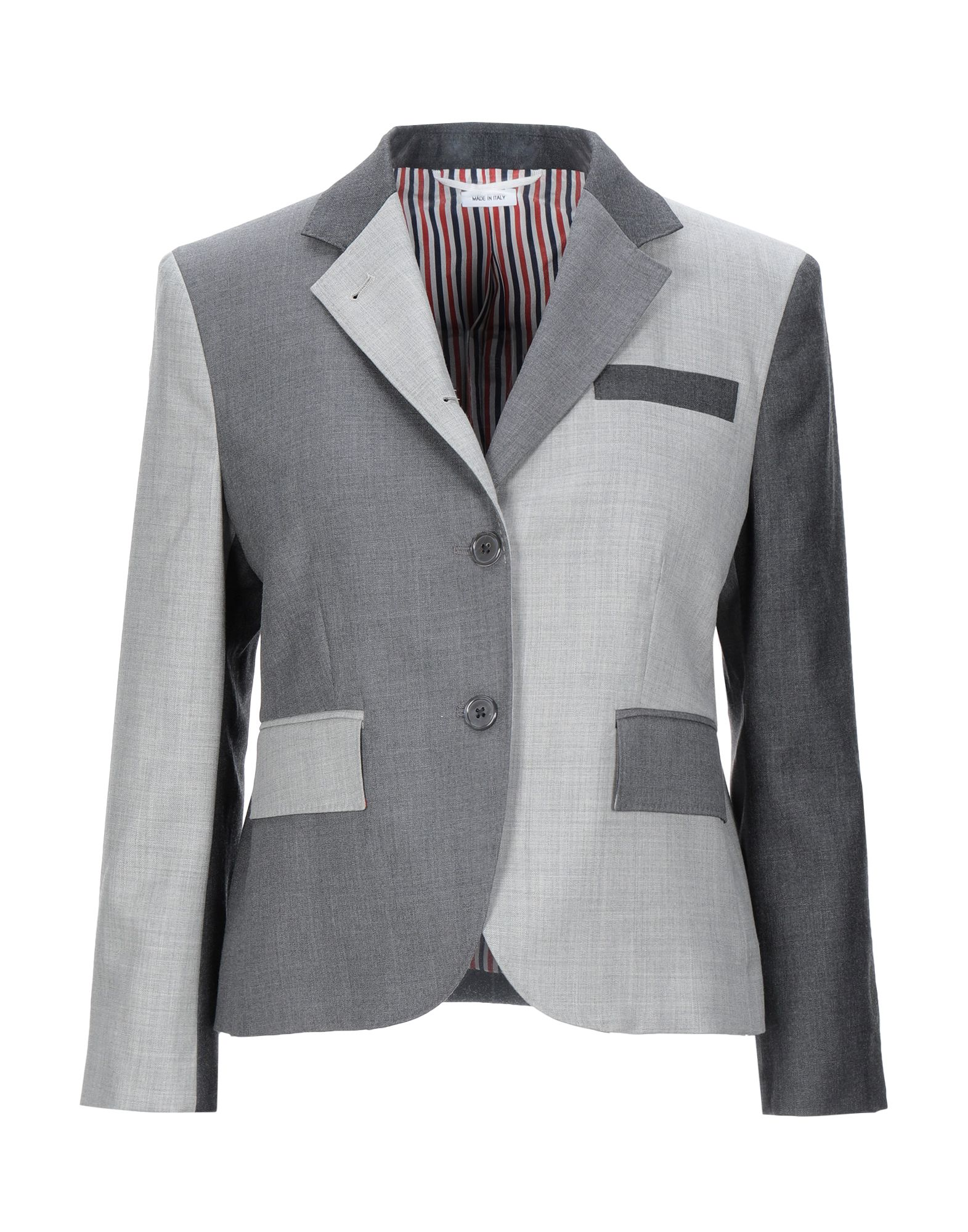 THOM BROWNE Suit jackets. flannel, no appliqués, multicolor pattern, multipockets, single chest pocket, button closing, single-breasted, lapel collar, long sleeves, dual back vents, fully lined. 100% Wool