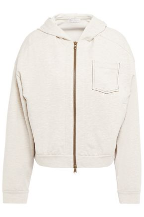 BRUNELLO CUCINELLI Bead-embellished mélange French cotton-blend terry hooded jacket