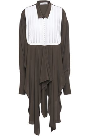 J.W.ANDERSON Asymmetric broderie anglaise-paneled crepe de chine shirt
