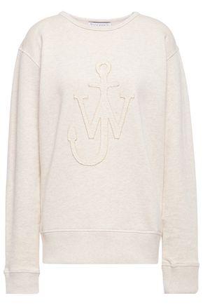 J.W.ANDERSON Logo-appliquéd mélange French cotton-terry sweatshirt