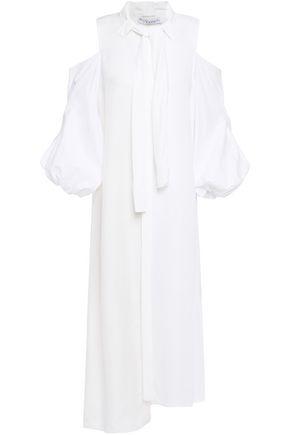J.W.ANDERSON Cold-shoulder asymmetric piqué and twill midi dress