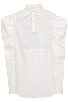 JW ANDERSON Gathered macramé lace-paneled twill blouse