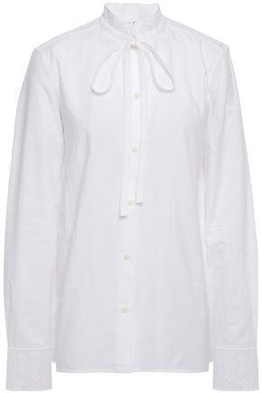 J.W.ANDERSON Pussy-bow macramé lace-trimmed cotton-piqué shirt