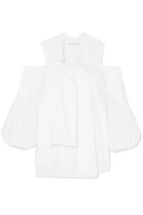 JW ANDERSON Cold-shoulder asymmetric cotton-poplin blouse