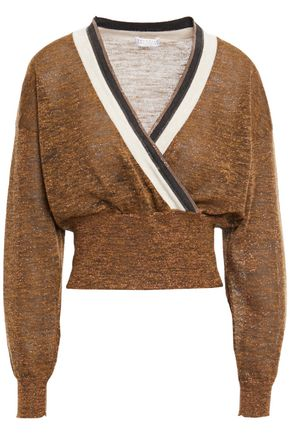 BRUNELLO CUCINELLI Cropped wrap-effect bead-embellished metallic knitted sweater