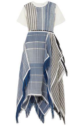 J.W.ANDERSON Fringed asymmetric cotton-jersey and striped gauze midi dress