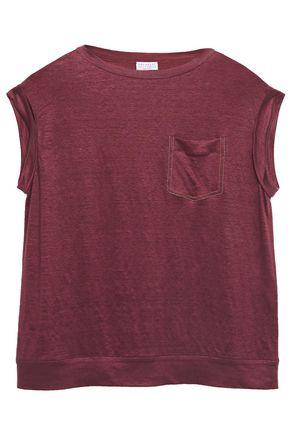 BRUNELLO CUCINELLI Bead-embellished slub wool and silk-blend T-shirt