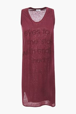 BRUNELLO CUCINELLI Embossed mélange linen and silk-blend tank
