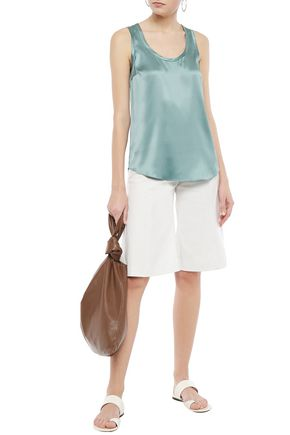 Brunello Cucinelli Stretch-silk Satin Tank In Teal
