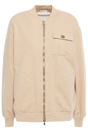 BRUNELLO CUCINELLI Bead-embellished mélange stretch-cotton jersey bomber jacket