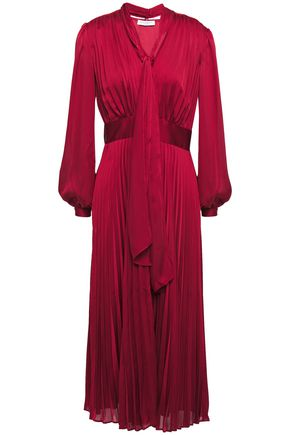 EQUIPMENT Macin tie-neck pleated washed-satin midi dress