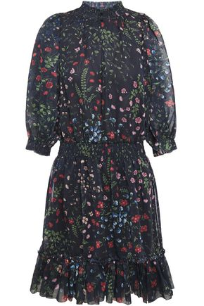 JOIE Shima shirred floral-print fil coupé mini dress