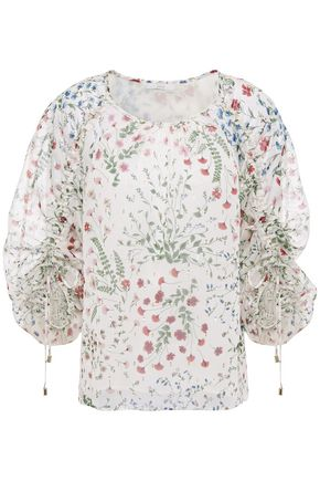 JOIE Neema ruched floral-print fil coupé georgette blouse