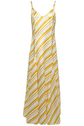 RACIL Ava pleated striped satin-twill maxi dress