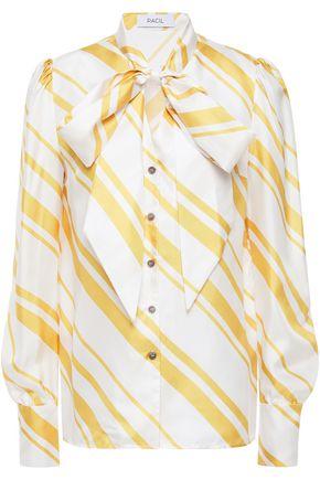 RACIL Agata pussy-bow striped silk-twill shirt