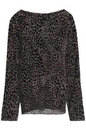 NILI LOTAN Harper leopard-print devoré-velvet top