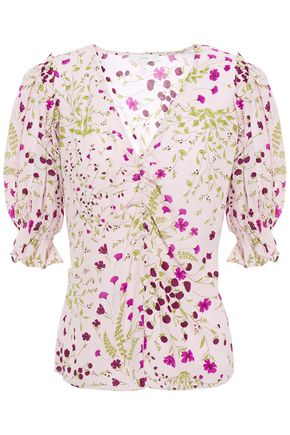 JOIE Ruffle-trimmed shirred floral-print mousseline blouse