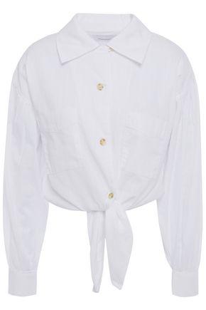 CURRENT/ELLIOTT Cropped knoted cotton-gauze shirt