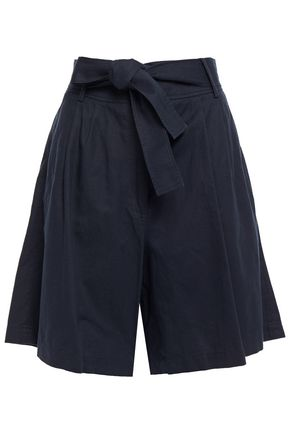VANESSA BRUNO Lilou belted pleated cotton, linen and Tencel-blend shorts