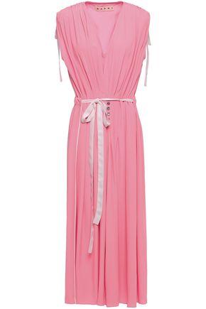MARNI فستان متوسط الطول من قماش كريب دي شين مع طيات